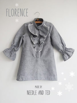 A Christmas Florence dress using the Florence blouse pattern