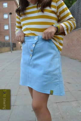 Book Fold Trousers pattern hacked into a skirt by Miren of Solo Sewing